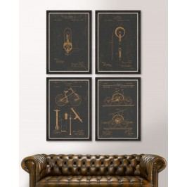 Tablou 4 piese Framed Art Famous Patents
