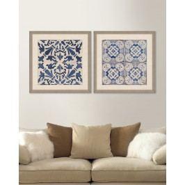 Tablou 2 piese Framed Linen Blue Tiles