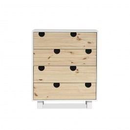 Cabinet cu 4 sertare House White/Nature, l40xL75xh90 cm