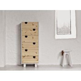 Cabinet cu 6 sertare House Nature/White, l40xL50xh130 cm