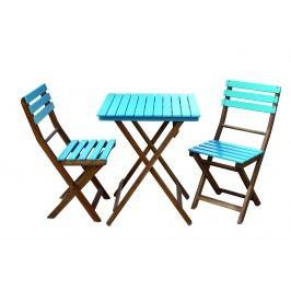 Set masa si scaune din lemn de salcam Bonita Blue